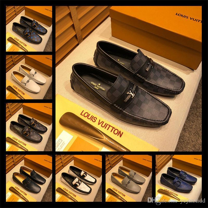 AA Men's genuine leather Loafers Luxuries pointed toe men formal Business Dress shoes Slip-on men wedding shoes 38-46