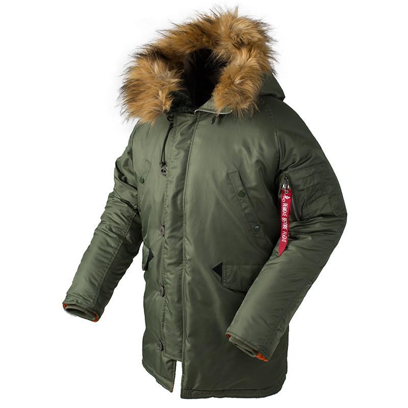 2018 Invierno N3B Puffer hombres chaqueta larga de Canadá abrigo de piel militar cálida trinchera camuflaje táctico bombardero ejército coreano parka