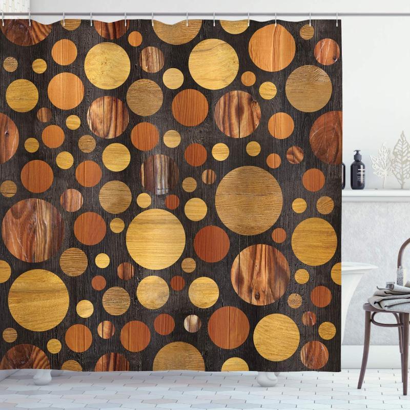 Ahşap Duş Perde Kahverengi Ahşap Dokular Özet Desen Daireler Kereste Meşe Doğal Tahıl Tarzı Sanatsal Reprodüksiyon Banyo Dekor Seti