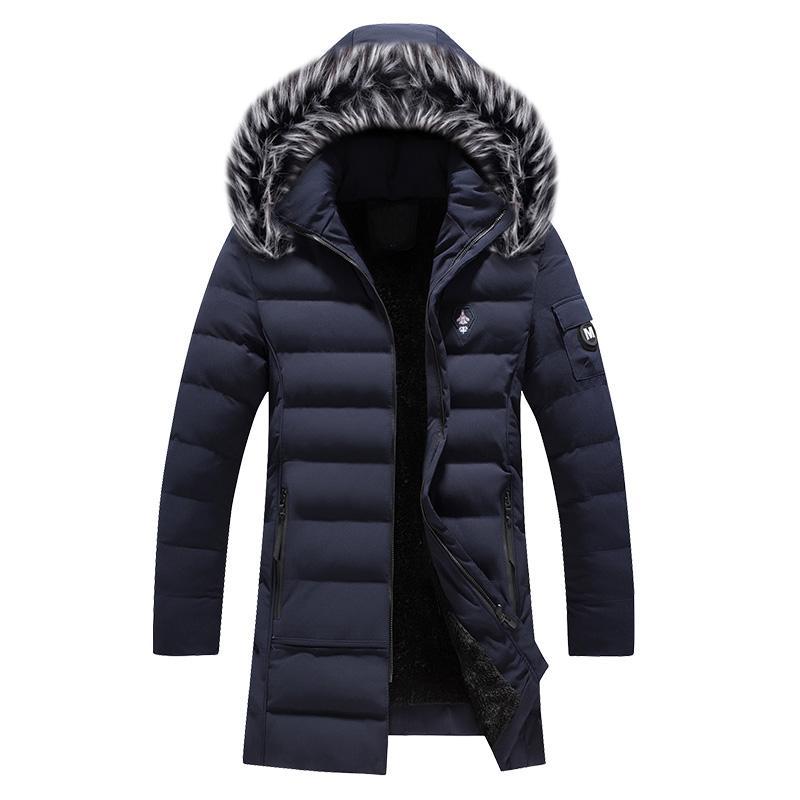 2019 Новая мода Зимняя куртка Мужчины меховой воротник с капюшоном длинное пальто бархата Теплый Parka Мужчины Толстые Outwear Повседневный ветрозащитный жёлоб