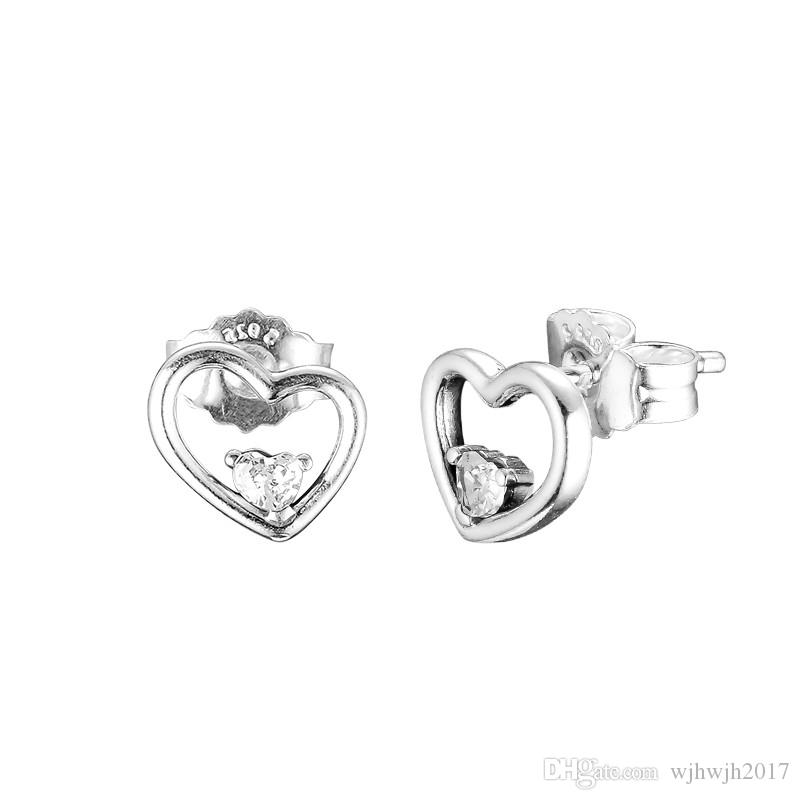 New Authentic 925 Sterling Silver Earring Asymmetric Hearts of Love Stud Earrings For Women Wedding Gift Fine Europe Jewelry