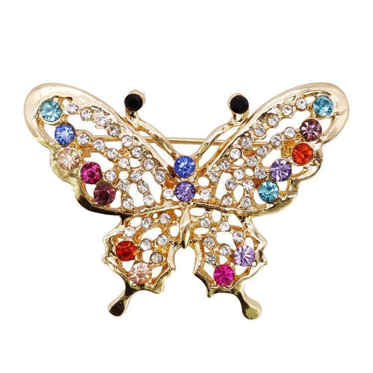 Archivos alta originalidad de la mariposa de la broche de diamante de la aleación de las mujeres broche animal Ropa Accesorios Producto