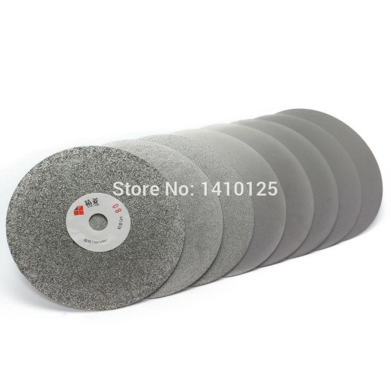 """5"""" polegadas 125 milímetros Grit 60-3000 diamante Roda Disco Moagem galvanizado revestido liso Colo Disk Lapidação Ferramentas Gemstone de vidro"""