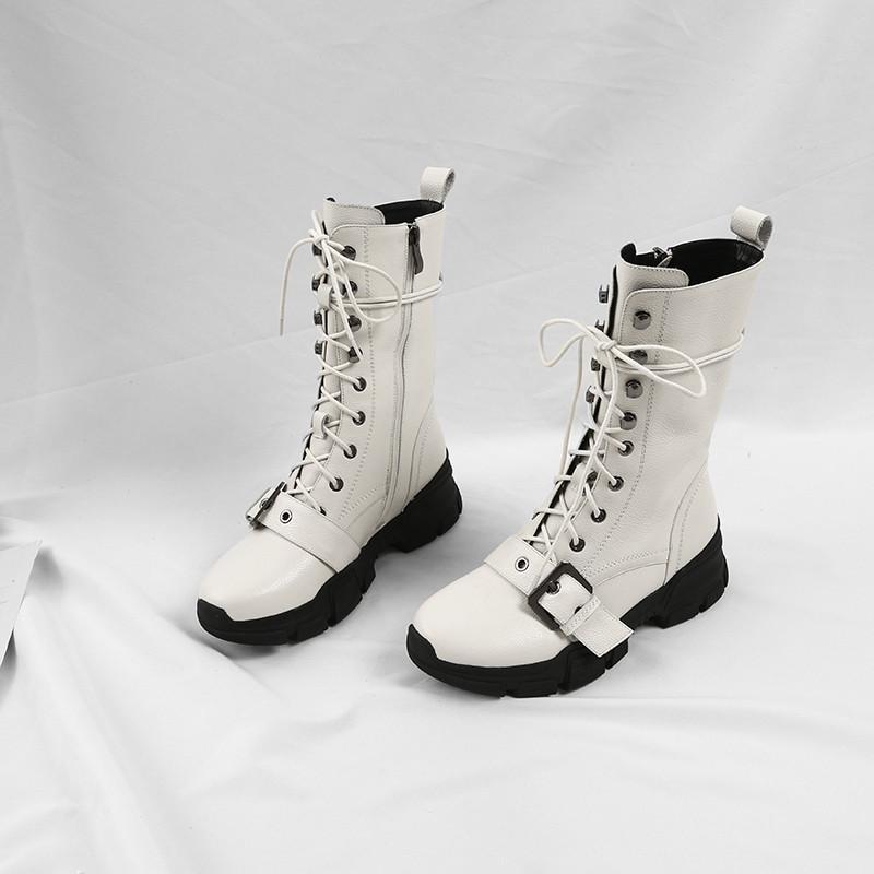 Горячие продажи- 2020 новые прибывающая горячей продажа ботильонов натуральной кожи сплошного цвета женщины сапоги удобная плоские пятки зима досуг обувь