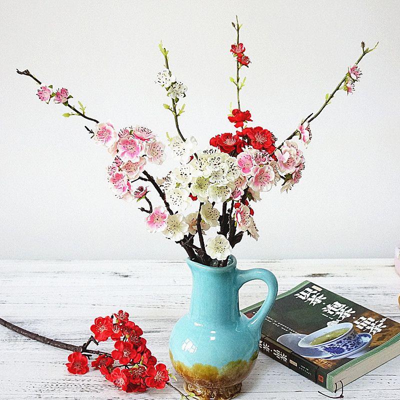 2018 classical Plum Cherry blossoms Artificial Silk flowers Sakura tree branches Wedding Decoration Home table Decor fake flower