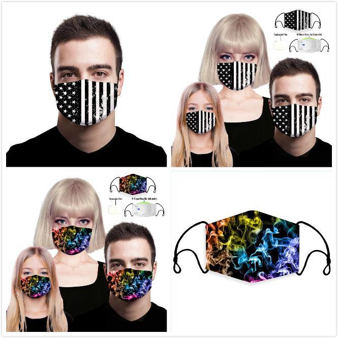Maschere di modo 3D Stampa Digitale Cadenti PM2.5 sostituibile Filtro maschere di protezione antipolvere Maschera anti-traspirante Haze Adulti Bambini