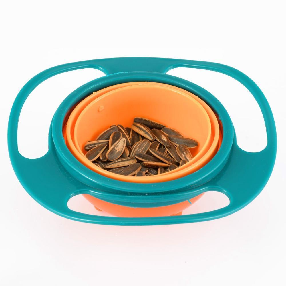 360 Derece Evrensel Bowl Mavi Pembe Renkli Bebek Plaka Feeding Gıda Platos Dökülme Kanıtı Dengesi Çocuk Bulaşık Bebek Bowl