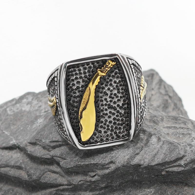 2020 neue Titan-Stahl-Mens Cool-Feder-Ring Hochwertiger Feder-Ring-Feder-Gold-Schmieren von Gießring US-Größe