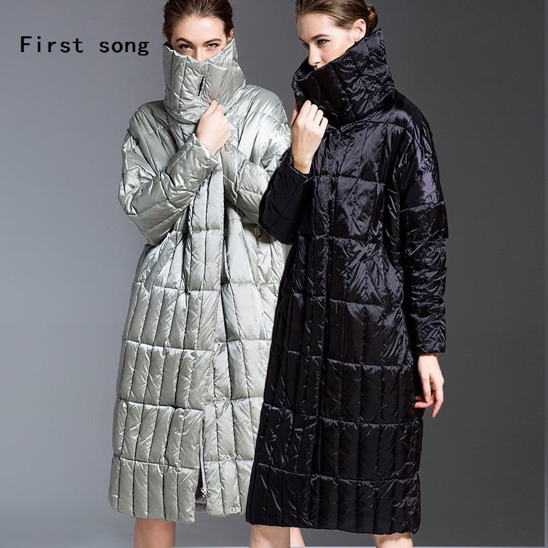 X-Long90% weiße Ente Daunenjacke Marke Damenjacke New2019 Winter Beschichtung PU warme hohe Kragen Roben unten Doudoune femm