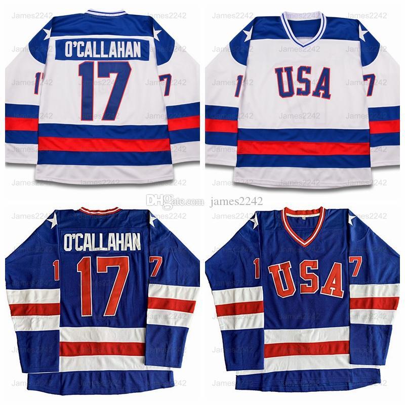 Jack O'CALLAHAN 17 Miracle sur la glace Équipe USA Movie Homme Hockey Jersey Blue Blanc Blanc cousu S-3XL Livraison gratuite