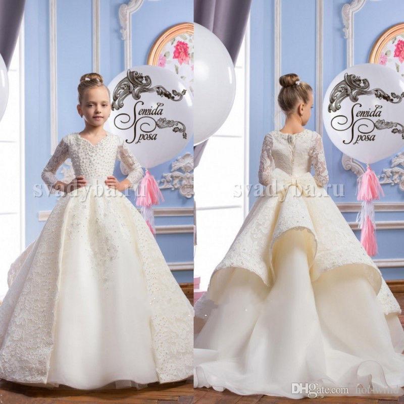 Kızlar Çiçek Kız Elbise İnciler İlk Communion Elbise V Yaka Dantel Balo Yarışması Elbise ile Düğün Uzun Kollu için lüks 2020