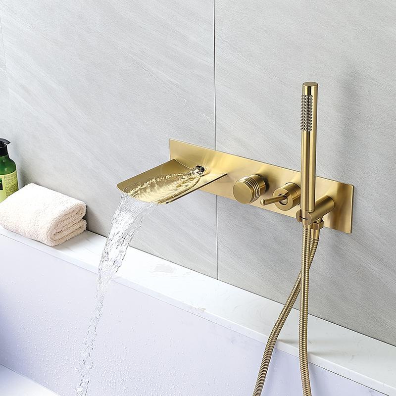 욕조 폭포 샤워 꼭지 닦았 골드 욕실 욕조 믹서 도청 냉온수 샤워 수도꼭지 벽 욕조 수도꼭지를 탑재