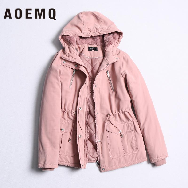 AOEMQ Parker Style Moda Color sólido Cálido con capucha Cordón Adelgazante Plus Algodón Plus Terciopelo Abrigo largo de algodón