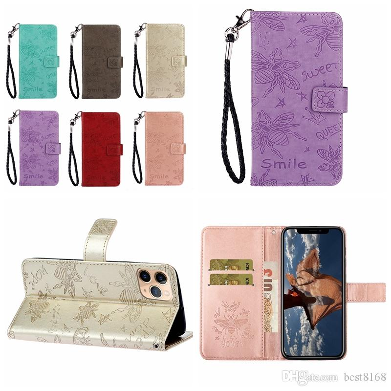 Imprint Bee Flower Wallet Leather Case For Iphone 11 Pro XS MAX XR 8 7 6 Huawei P30 Mate 30 Pro P20 Lite Smile Crown Queen Flip Cover Holder