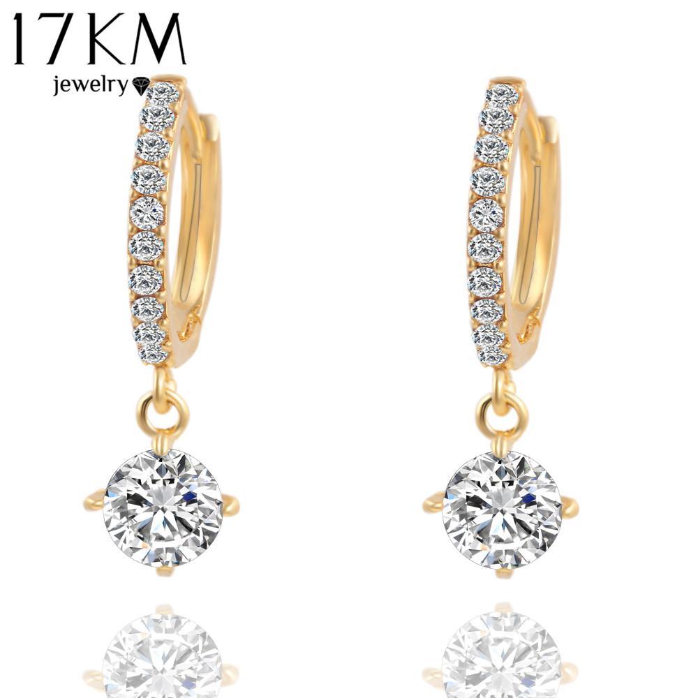 Brincos Orecchini di cristallo Moda oro nastro Colore pendente zircone Orecchini pendiente per le donne geometriche orecchino lungo 2018