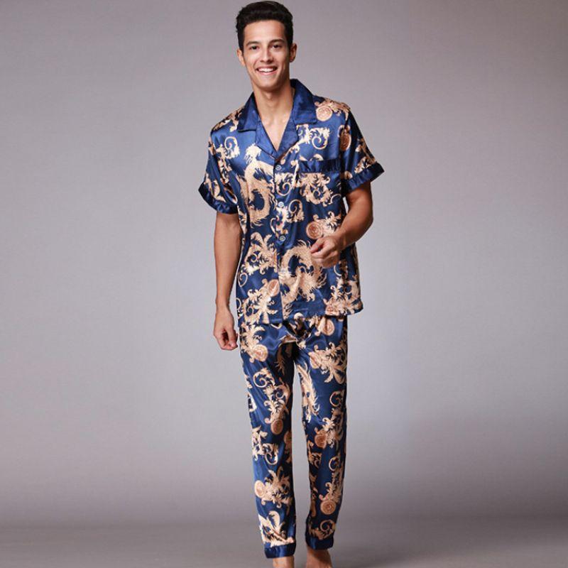 Ssh021 Осень Лето Loungewear С Короткими Рукавами Длинные Брюки Пижамный Комплект Мужчины Печатные Атласные Шелковые Пижамы Мужской Пижамы Пижамы Пижамы J190613