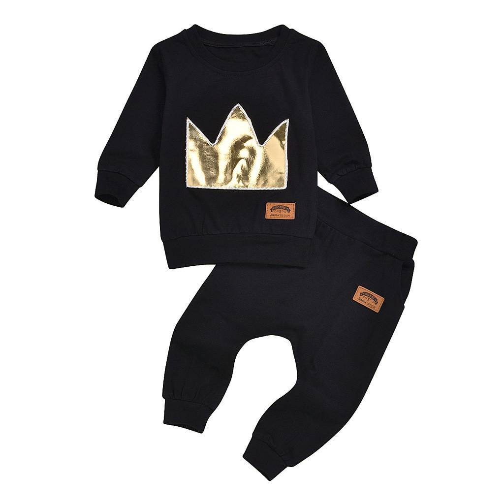 Vêtements pour nouveau-nés filles Sweat + Pantalons 2PCS Fille Garçon Vêtements Set Automne Hiver Casual Filles Garçons Vêtements de sport Set # Y3