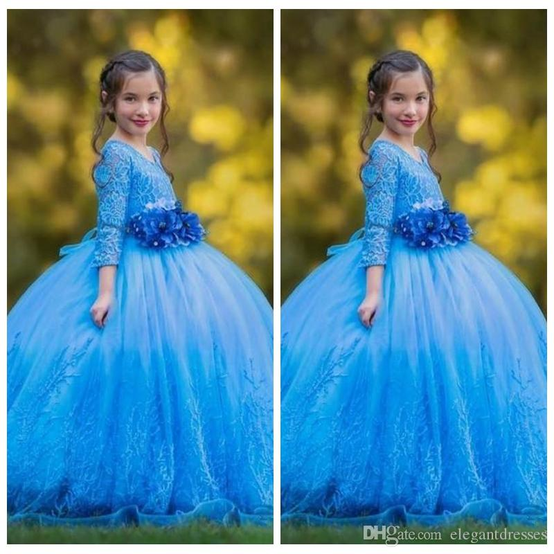 2019 Scoop Viertel Ärmel Spitze Appliques Ballkleid Blumen Mädchen Kleider Mit 3d Blumen Verziert Lange Mädchen Pageant Kleider Gorgeous