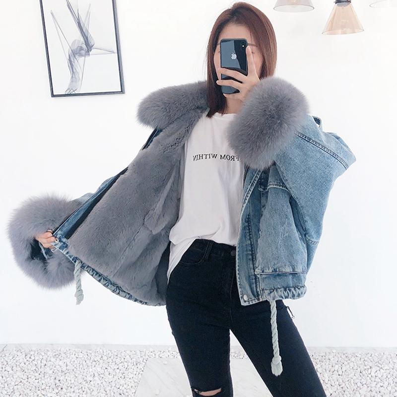 Rex delle donne della pelliccia cappotti di pelliccia collare 2019 di modo di inverno reale naturale femmina giacca tuta sportiva del denim più colori