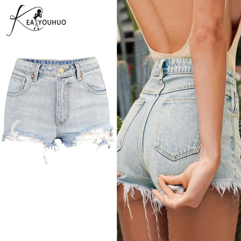 Women/'s High Waist Stretch Summer Shorts Denim Jean Short Pants Bodycon Trousers