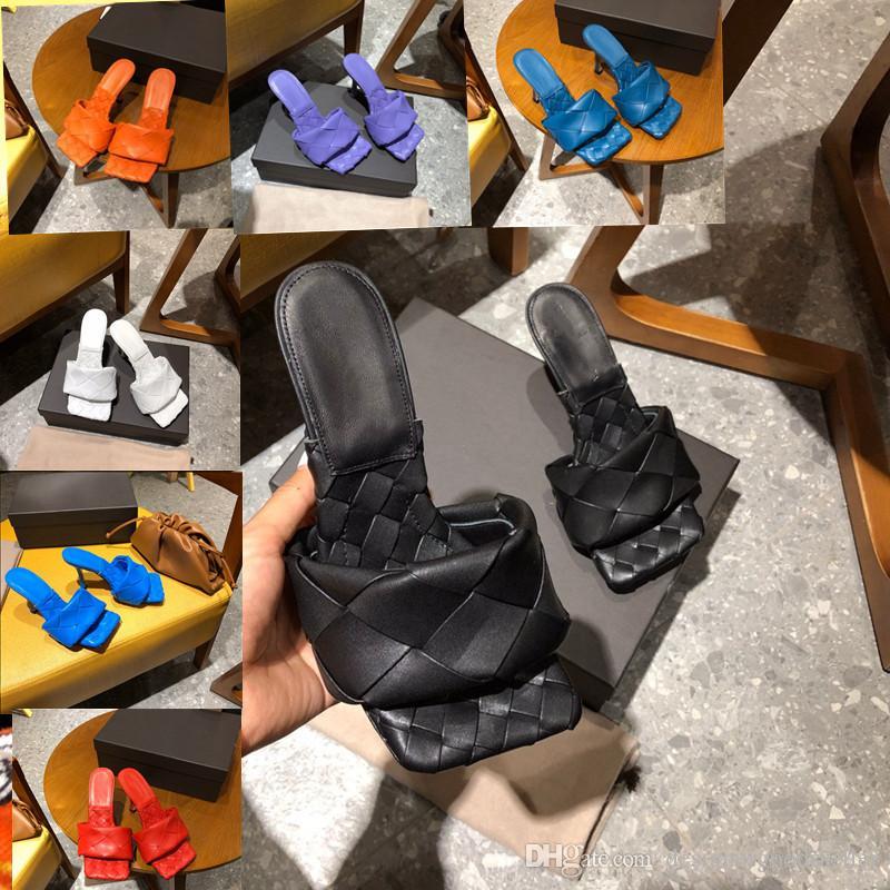 2020 Designer women's slippers square mules shoes nappa lambskin women slippers LIDO sandals luxury lady Wedding high heels lady high heel