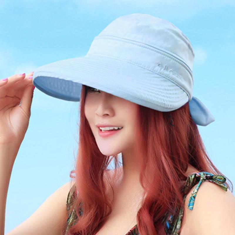Bowknot Açık Katlanır Cap Katı Kore Stil Yaz Seyahat Plaj Yürüyüş Pratik Güneş Hat Bayanlar saçakları Moda