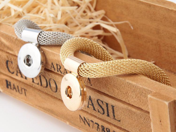 Nueva llegada de moda Nossa Chunks Charm Bracelet Ginger Snap botones joyería de la boda del partido de las mujeres para Snap Button 18 mm # LB48