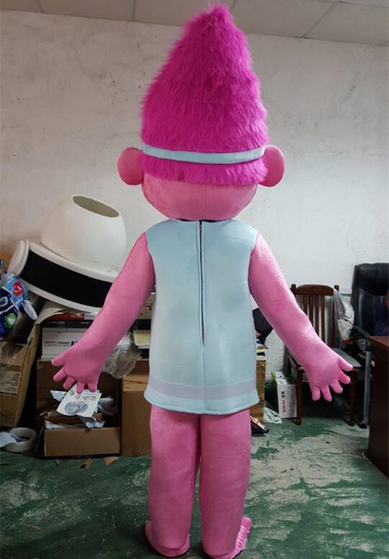 Großhandels-Qualität Poppy Vom Traum arbeitet TROLL Film Halloween-Kostüm-Maskottchen-Abendkleid-erwachsene Größe Freies Verschiffen