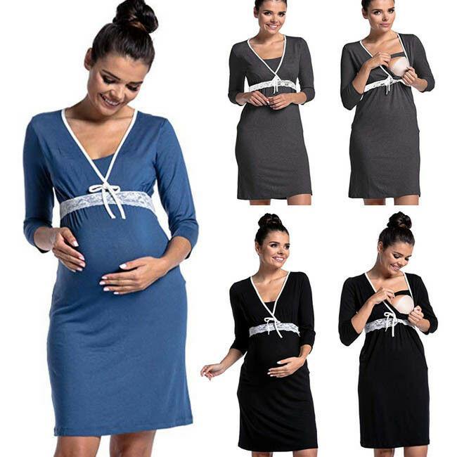 3/4 슬리브 잠옷 출산 드레스 임신 의류 간호 중국 미국 임신 한 여성에서 만든