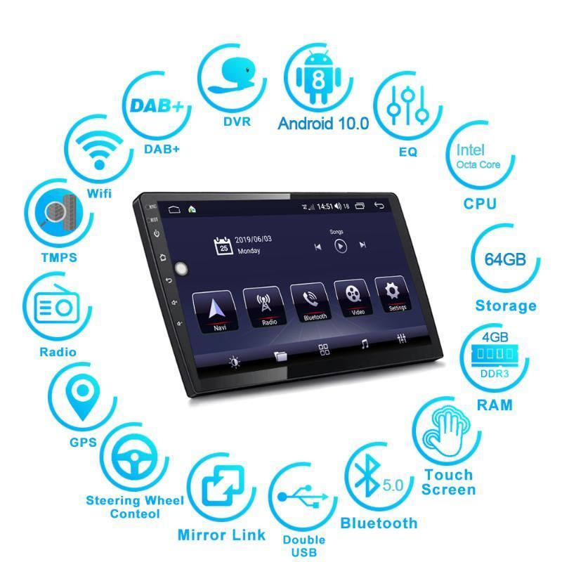 """9/10. 1""""Universal Android 10.0 carro Multimedia Player estéreo rádio GPS de navegação chefe de unidade Wi-Fi Bluetooth DSP 2+32/4+64GB carro dvd"""