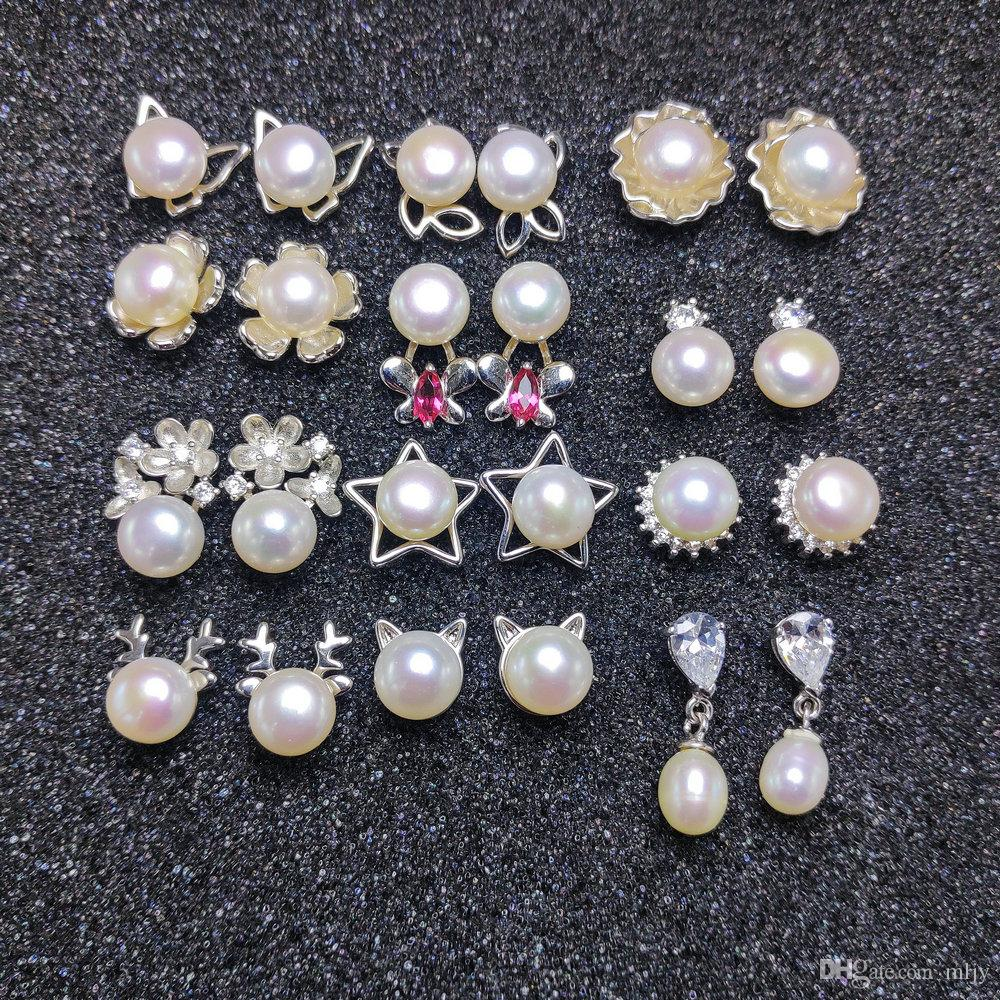 여성 선물 상자 웨딩 크리스마스 선물을위한 천연 진주 귀걸이 S925 실버 스터드 귀걸이 패션 쥬얼리 7-8mm 진주 귀걸이