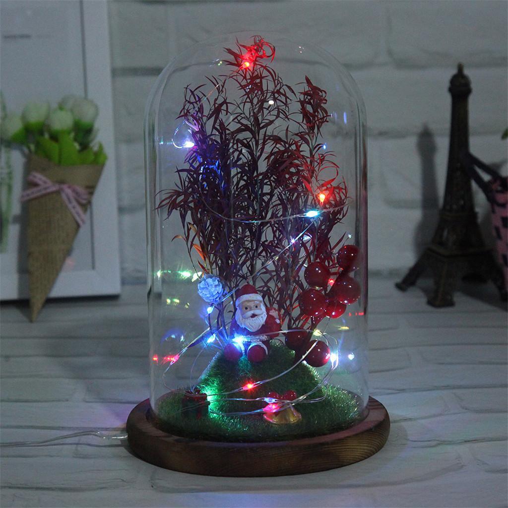 Árvore de Natal diminuta no vidro Dome Ornamentos apresenta String Luz H0827