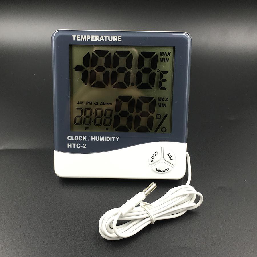 HTC-2 Высокоточный ЖК-цифровой термометр гигрометр Электронный Измеритель температуры и влажности Часы Метеостанция В / на открытом воздухе