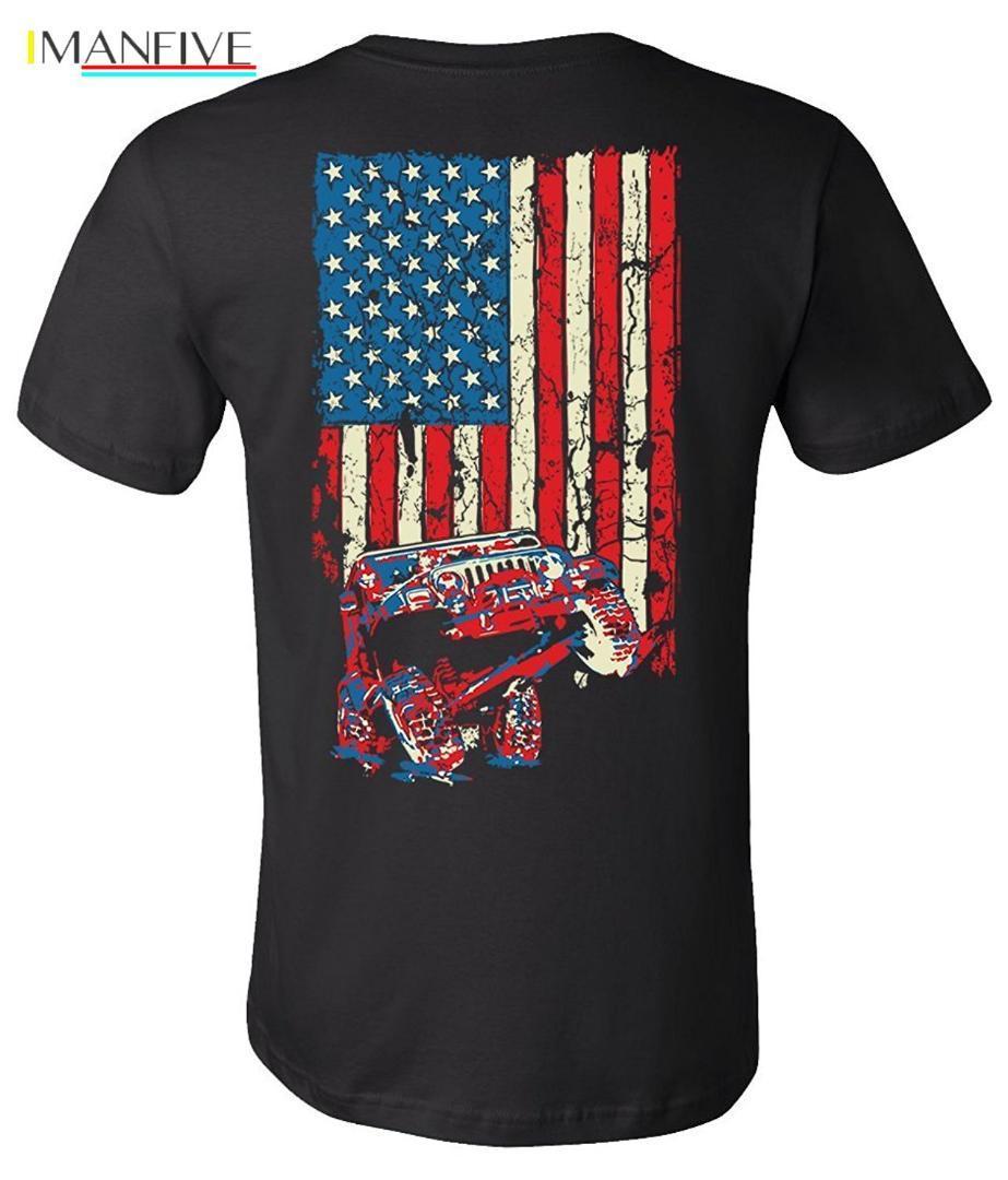 2019 Magro Nova verão camisetas bandeira americana TJ shirt (projeto na parte traseira) Moda T-shirt