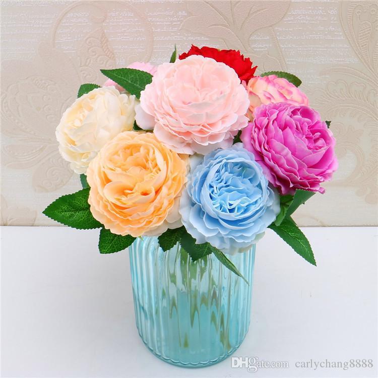 Fleurs en soie rose pour le mariage fleur artificielle bouquet de mariée roses dahlias tombent vif faux feuille décoration de fleurs de mariage