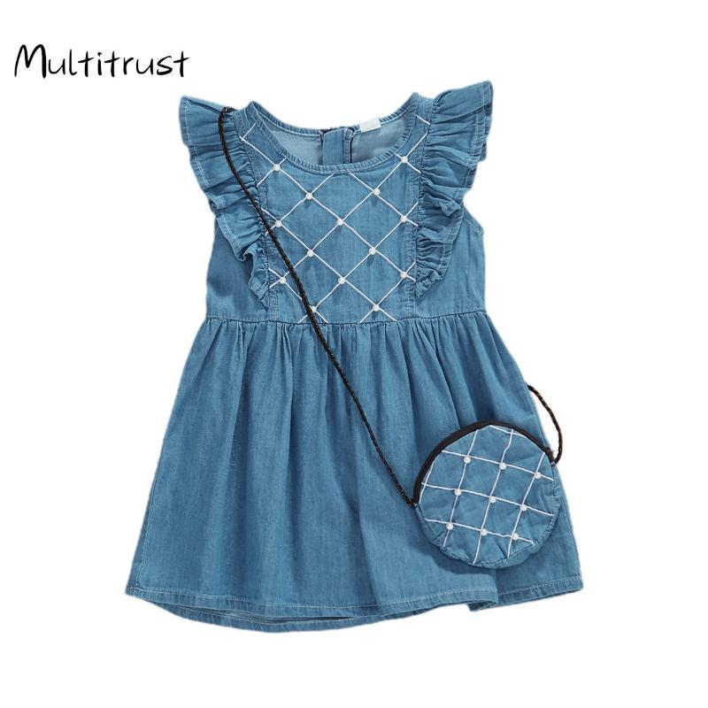 1-3Y Kid Baby Girls 2020 Robe d'été imprimé ananas mignon Denim manches robe de princesse + Sac 2pcs