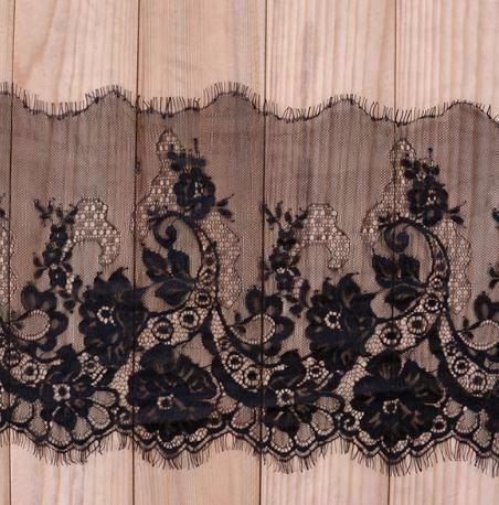 3 м / лот 24 см ширина мода высокое качество ручной работы DIY черный ресниц кружева обрезки, Шантильи ткани