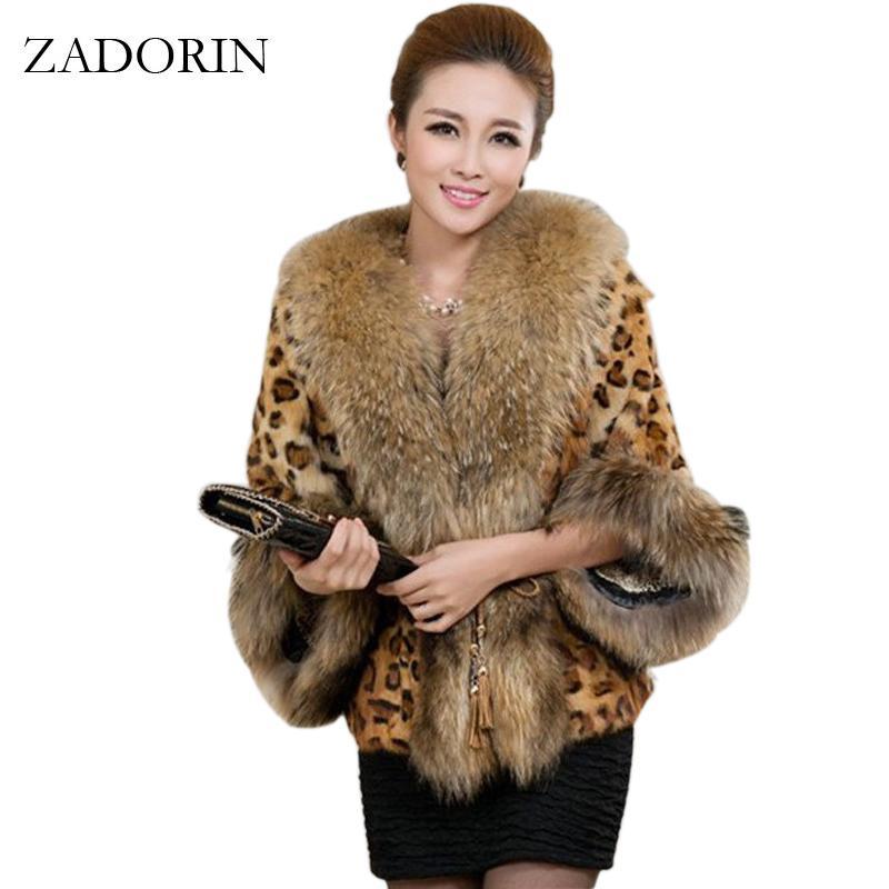 2019 del cappotto sexy di modo delle donne di inverno della pelliccia del Faux leopardo con cane di Raccoon collare Faux Fur Poncho gilet chalecos de pelo mujer S-3XL