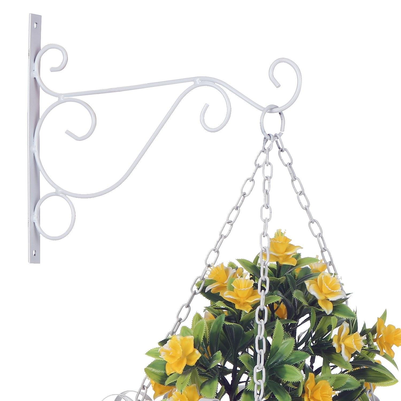 Iron Wall Hanging Flower Pot Plant Stand Hooks Holder Hanger Flowerpot Bracket Flower Display Shelf Rack for Garden Balcony Outdoor Indoor P