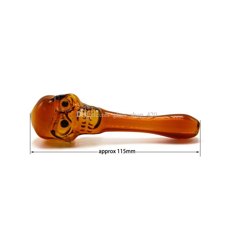 Pipe all'ingrosso del fronte del cranio Bowl tabacco a mano tubo pirex Cera Herb Oil Burner tabacco acqua a mano tubo di olio Rigs vetro per fumare
