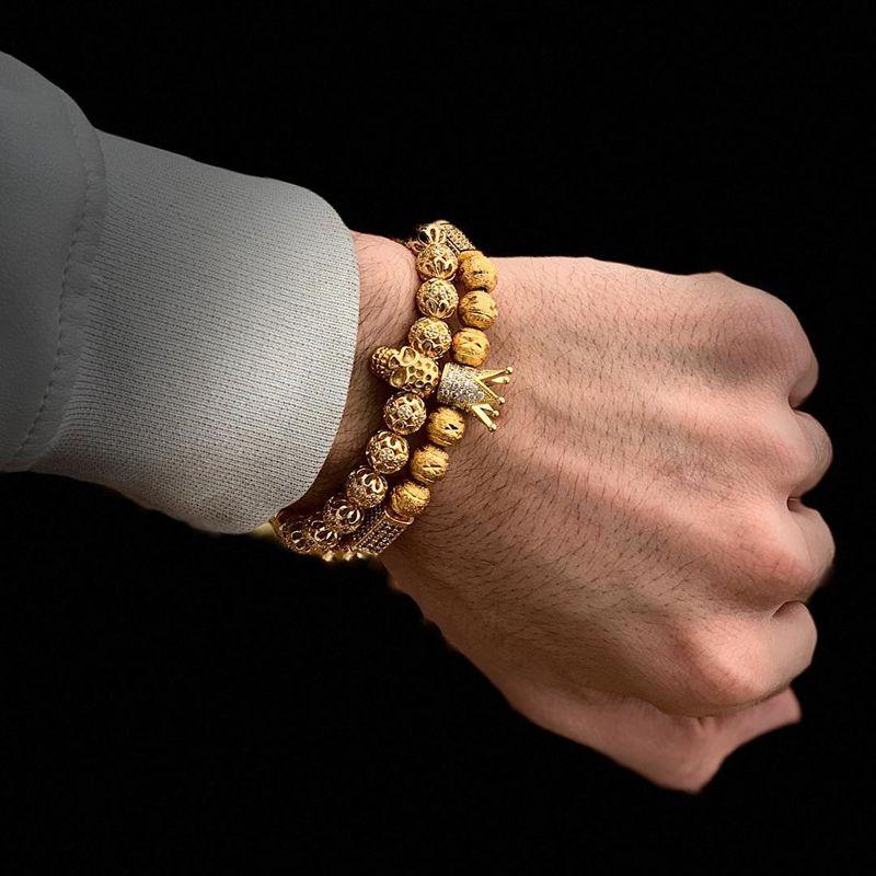 2pcs/set luxury bracelet men bracelet/charm/gold/stainless steel/bracelets for women ball zirconia bracelets femme jewelry men