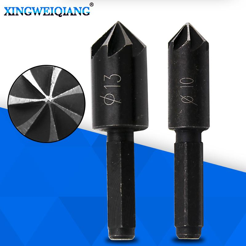 """Tools 10mm 13mm Countersink Bore Set For Wood Plastic Quick Change Bit 1/4\"""" Hex Shank Chamfer Timber"""
