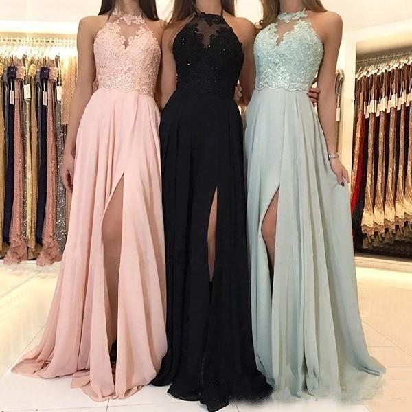 2019 chiffon longa dama de honra vestidos A-Line Jewel Golk Halter Lace Applique Chão Comprimento Drapeado Lateral Split Formal Vestido de Prom