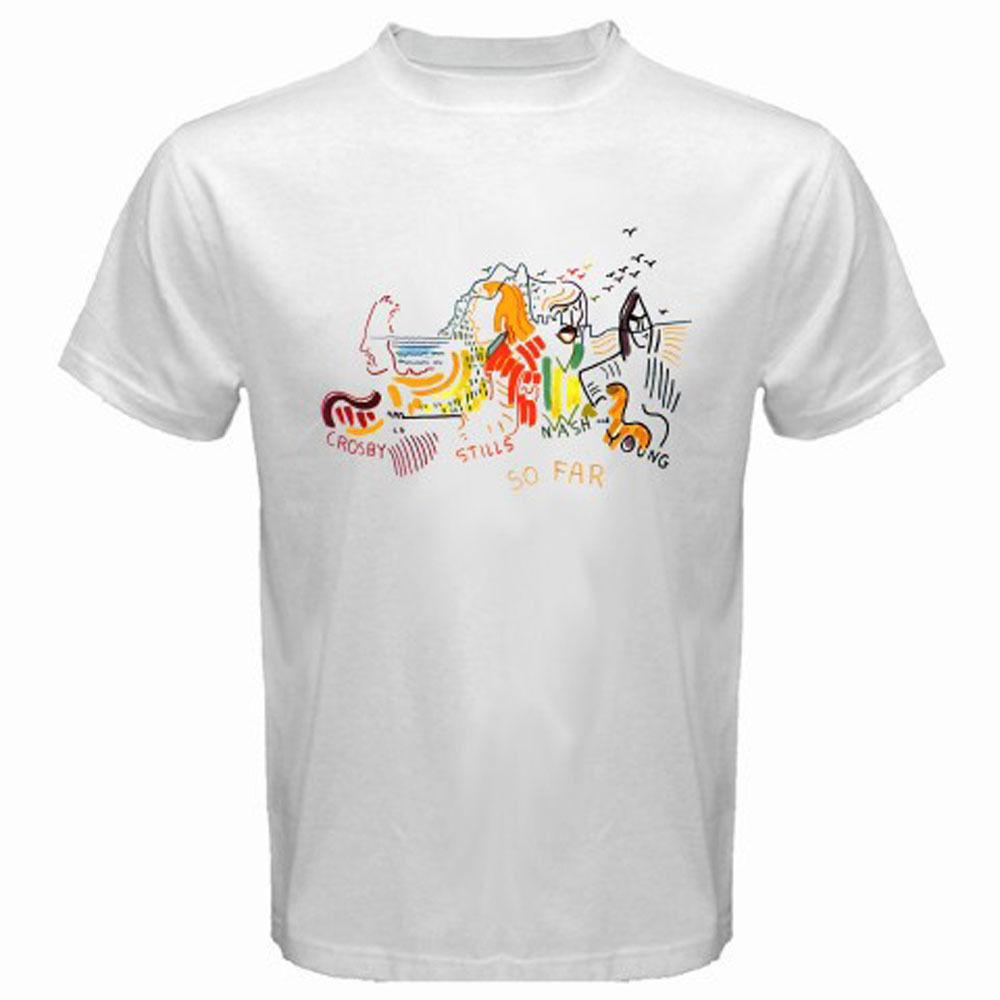 Crosby , Stills , Nash&young * So Far Album Cover Men's White T-shirt Size Cartoon T Shirt Men Unisex New Fashion Tshirt