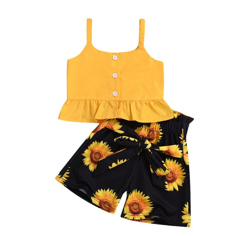 Fashion Sunflower Baby Girl Clothes Toddler Kids Sweet Girls Sleeveless Ruffle Solid Vest Tank Top+sunflower Shorts Girl Outfits