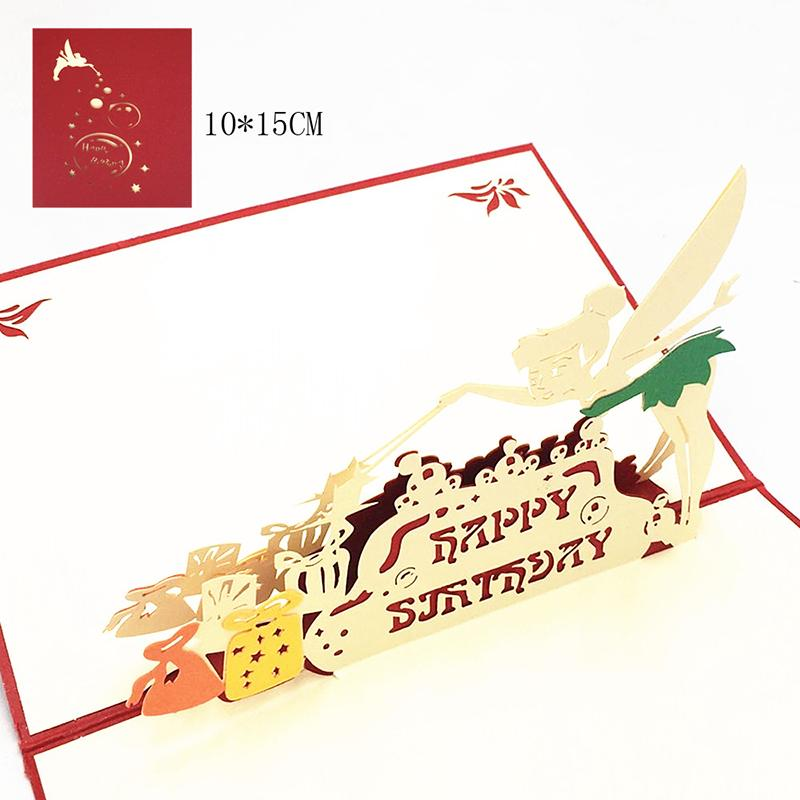 1pcs Happy Birthday Little fairy Laser Cut 3D Pop Up Greeting Card With Envelope Postcard Invitation For Wedding Decor