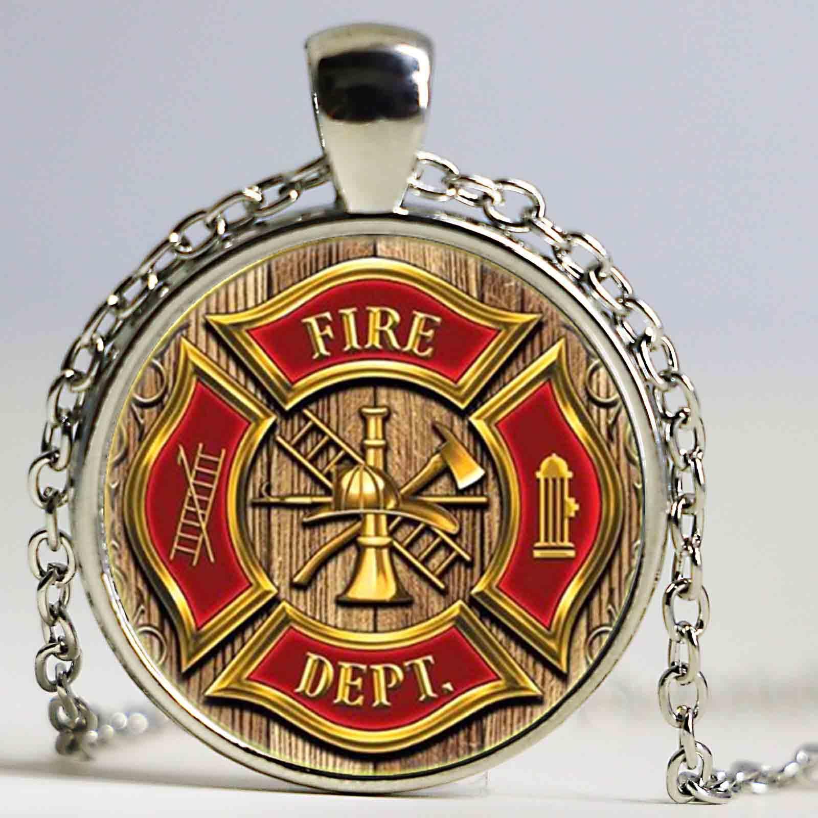 Cadeia bombeiro Departamento do fogo Colar Punk Símbolo novidade fresco Padrão de vidro cabochão pingente colar de homens Boyfriend