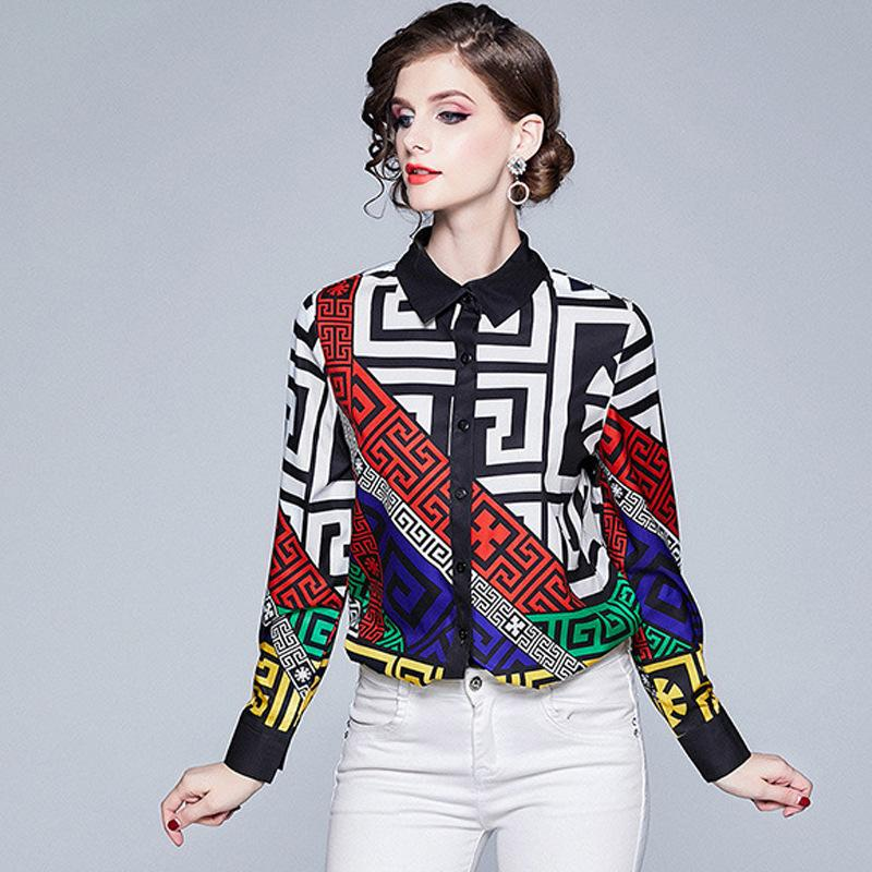 Ropa de mujer original de gama alta nueva principios de otoño nuevas letras impresas camisa de manga larga mujer