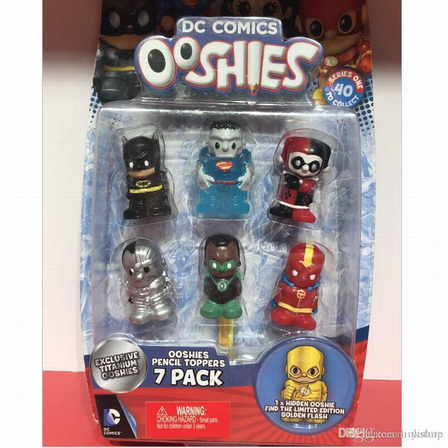 New Ooshies DC Comics/Marvel Ooshie Pencil Toppers Action Figure Kids Toy Doll Gift Xmas Gift Collectible-7Pcs/Pack With 1 Blind Figure