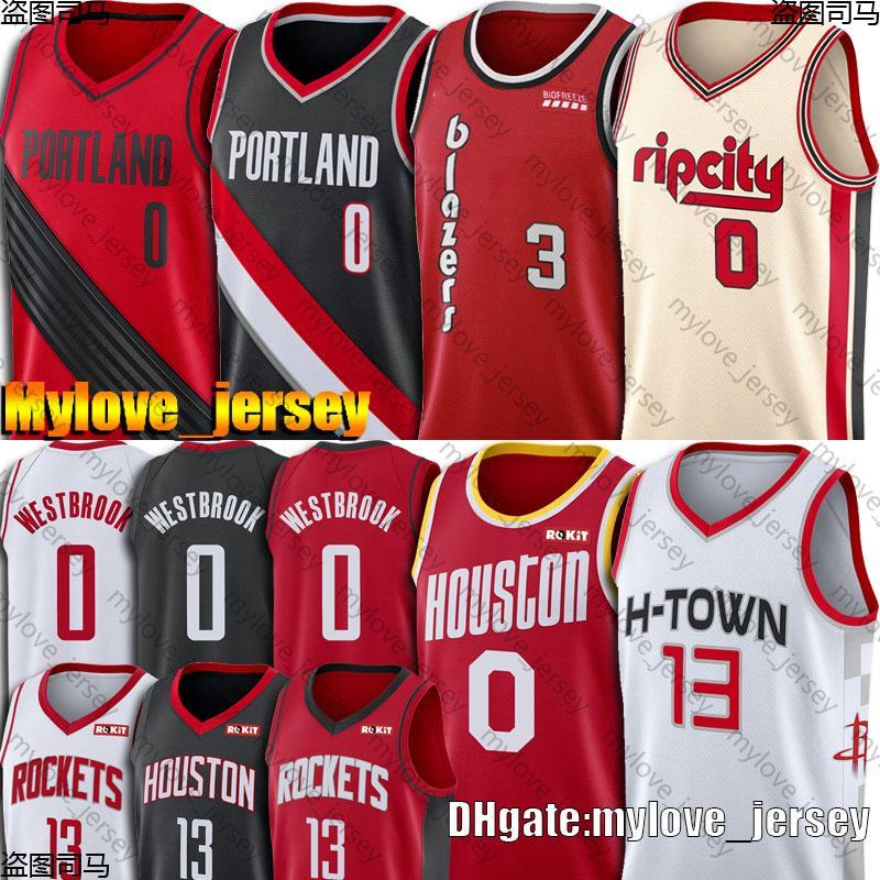 Russell Westbrook 0 maglie James Harden 13 maglie Damian Lillard 0 Jersey McCollum maglie Portland Houston Rocket Trial Blazer